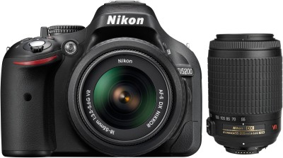 Nikon D5200 with (AF-S 18 - 55 mm VR II + AF-S 55 - 200 mm ED VR II Kit Lens) DSLR Camera(Black)