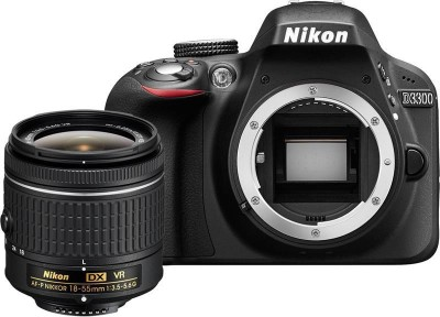 Nikon D3300 with AF-P 18-55 mm F/3.5-5.6G VR + AF-S 55-200 mm F/4-5.6G ED VR II DSLR Camera(Black)