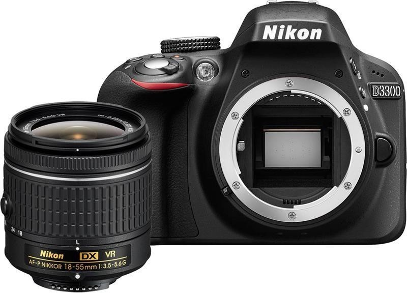 Nikon D3300 DSLR Camera (Body with AF-P 18-55 mm F/3.5-5.6G VR + AF-S 55-200 mm F/4-5.6G ED VR II)(Black)