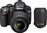 Nikon D3200 with (AF-S 18-55 mm VRII   AF-S 55-200 mm VR Kit) DSLR Camera(Black)