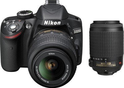 Nikon D3200 with (AF-S 18-55 mm VRII + AF-S 55-200 mm VR Kit) DSLR Camera(Black)