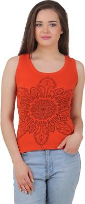 Yati Casual Sleeveless Printed Women's Orange Top