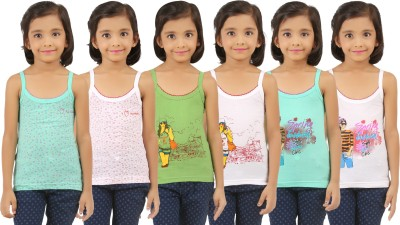 Vica Pota Camisole For Girls(Green, Pack of 6)