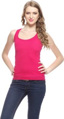 Exhort Fashion Solid Women's Round Neck Pink T-Shirt