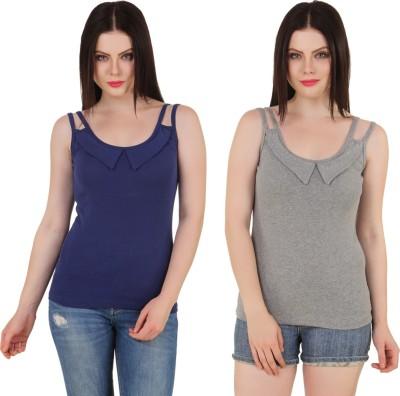 Yati Casual Sleeveless Solid Women's Blue, Grey Top