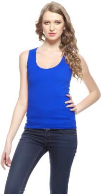 Exhort Fashion Solid Women's Round Neck Blue T-Shirt