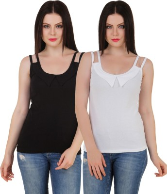 Yati Casual Sleeveless Solid Women's Black, White Top