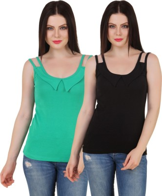 Yati Casual Sleeveless Solid Women's Green, Black Top