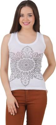 Yati Casual Sleeveless Printed Women's White Top