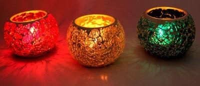 Raja Arts colorful Glass 3 - Cup Tealight Holder Set