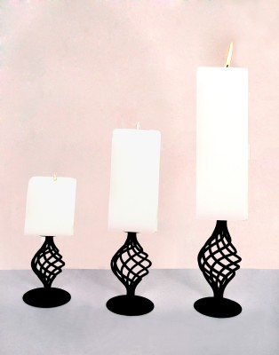 Indigo Creatives Classy Black 3 Large Wax with Stand Gift Set Iron 3 - Cup Candle Holder Set Iron 3 - Cup Candle Holder Set