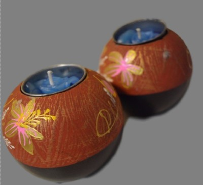 POOJA GHAR Wooden Candle Holder