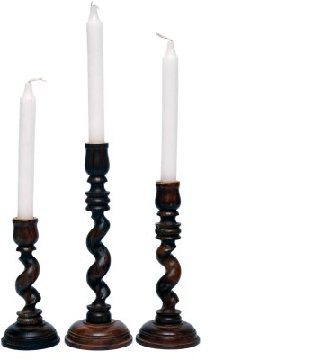 Woodenclave Amicitia- Set of 3 candle holders Wooden 3 - Cup Candle Holder