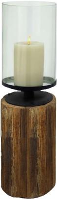 Kala Bhawan 21x7 Light Wood Clear Glass Hurricane Glass 1 - Cup Candle Holder