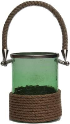 Kala Bhawan Greenglass Rope Covered Iron Candle Holder