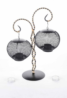 Good Living metal cane knitted hanging and standing , made in inda Iron 2 - Cup Tealight Holder Set