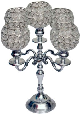 neyari Crystal Candle Holder(Silver, Pack of 1)