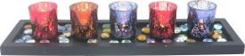 Importwala Glass Tealight Holder Set(Black, Pack of 5)