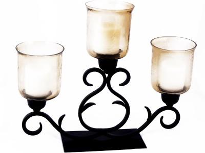 Deziworkz Iron, Glass Candle Holder
