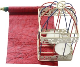 The Ethnic Story Cast Iron Tealight Holder(Red, Pack of 1)
