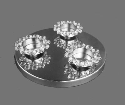 Metallic Kreationz Aluminium, Crystal, Steel 3 - Cup Tealight Holder