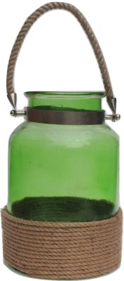 Kala Bhawan Big Green Rope Covered Glass stand Iron 1 - Cup Candle Holder
