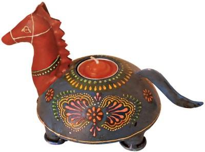 Handicrafts Siddh Arts Hand Painted Horse Design Wooden 1 - Cup Tealight Holder