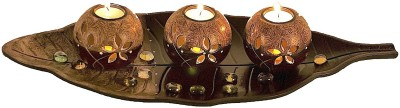 Ambience Wooden Tealight Holder Set(Brown, Pack of 4)