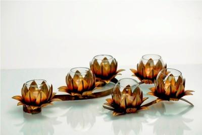 Nafees Iron Flower Design Iron Tealight Holder Set