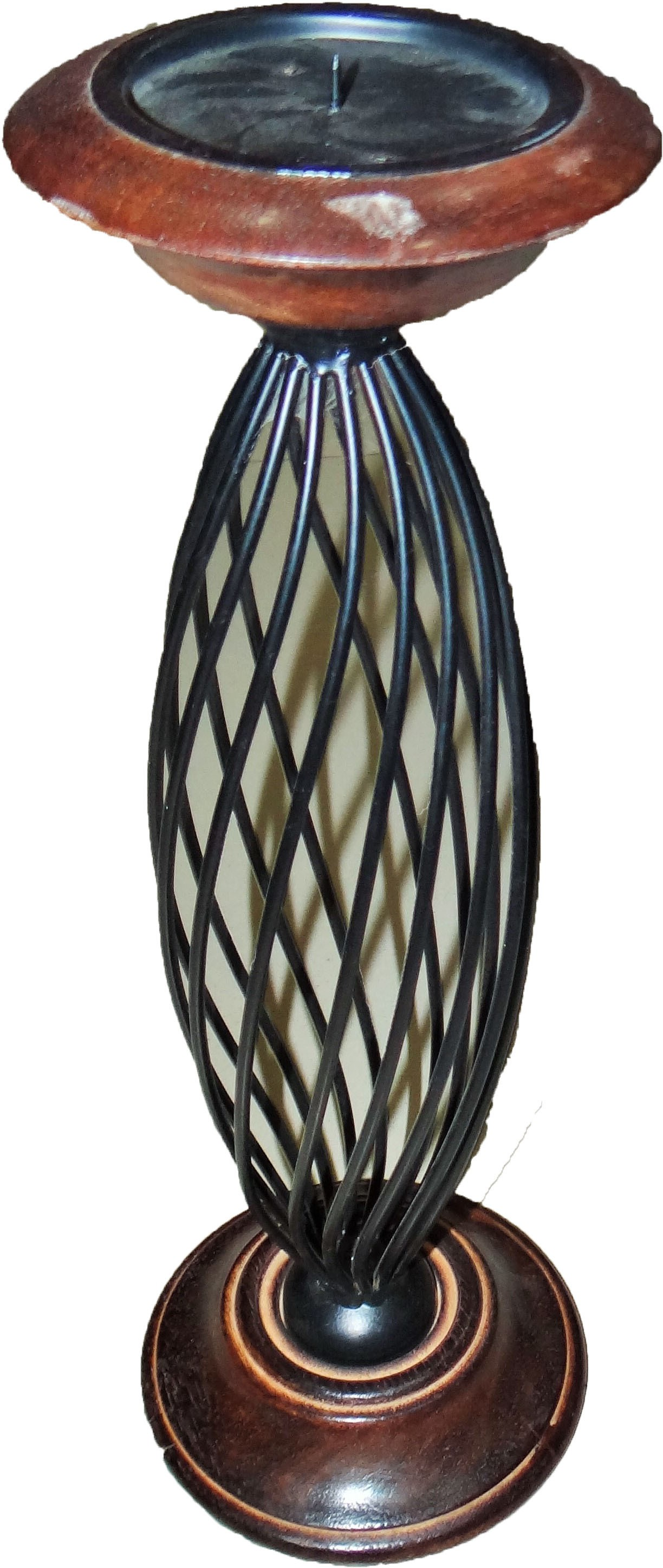 Krishak Wooden, Iron 1 - Cup Candle Holder