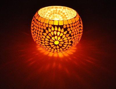 Lal Haveli Beautiful Votive Flower Pot,Pan Stand Glass Tealight Holder