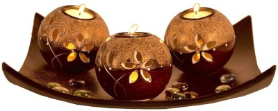 Ambience Wooden Tealight Holder Set(Brown, Pack of 3)