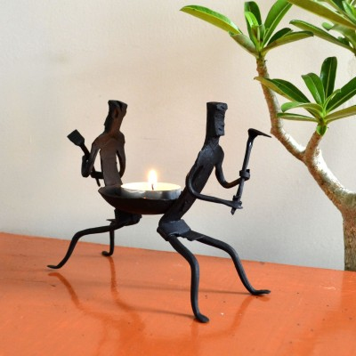 Chinhhari Arts Tribal Candle stand Iron 1 - Cup Candle Holder
