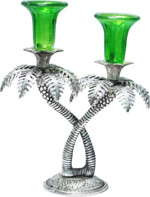 Craftkriti Oxidized Tree Shaped Silver 2 - Cup Candle Holder