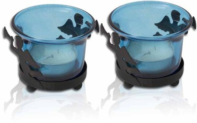 Painting Mantra Designer & Decorative Blue Wax Candles Glass 1 - Cup Tealight Holder Set(Blue, Pack of 2)