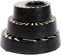 Rajrang Zig Zag Candle Holder Wooden 3 - Cup Candle Holder Set(Black, Pack of 3) best price on Flipkart @ Rs. 779