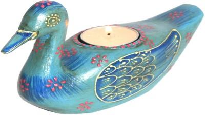 Raja Arts Handicrafted blue Wooden 1 - Cup Tealight Holder