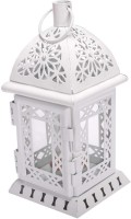 Scrafts Metal Antique Glass Cage WH Steel Candle Holder(White, Pack of 1)