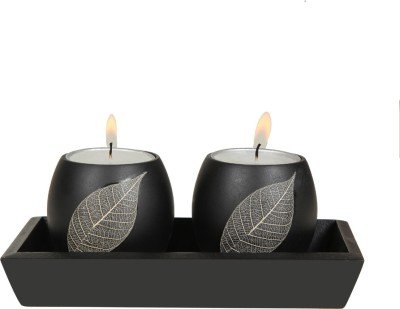 Outdazzle With Tray for Diwal Decoration & Gift 004 Wooden Candle Holder Set(Black, Pack of 2)