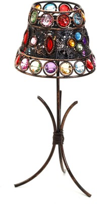 Aapno Rajasthan Lamp Shade with Color Glass Holders Cast Iron 1 - Cup Tealight Holder