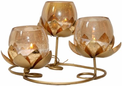 Devata Gifts Golden Round 3 Lotus Glass 3 - Cup Candle Holder Set