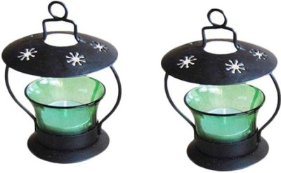 Craftatoz Iron Candle Holder(Green, Pack of 2)