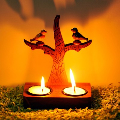 ExclusiveLane Tree Of Life Wall Cum Table With Parrots Sitting On It Wooden 2 - Cup Tealight Holder