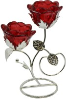 Gift4 Two red flowers Glass 2 - Cup Tealight Holder(Red, Silver, Pack of 1)