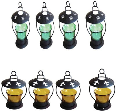 Craftatoz Iron Candle Holder(Multicolor, Pack of 8)