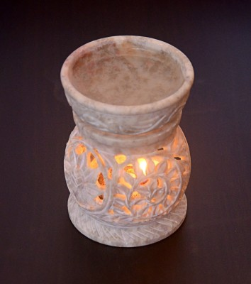 Hashcart Hand Crafted Soapstone With Floral Carving Marble 1 - Cup Tealight Holder(Multicolor, Pack of 2)