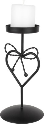 Aesthetic Decors Iron 1-Candle Holder Stand Iron 1 - Cup Candle Holder(Black, Pack of 1)