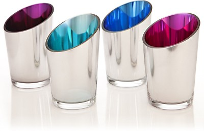 Importwala Vintage Votive Holders Glass Tealight Holder Set(Multicolor, Pack of 4)