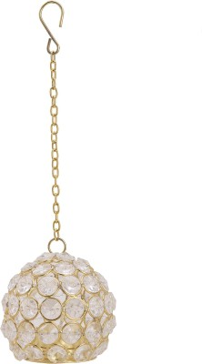 Artistic Handicrafts Embellished Crystal Tealight Holder(Gold, Pack of 1)