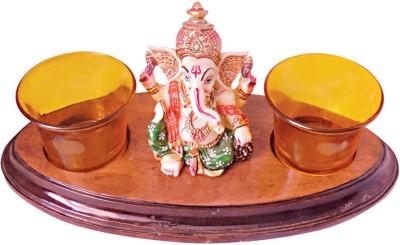 Handicrafts Siddh Arts Designer Lord ganesha Wooden 2 - Cup Tealight Holder